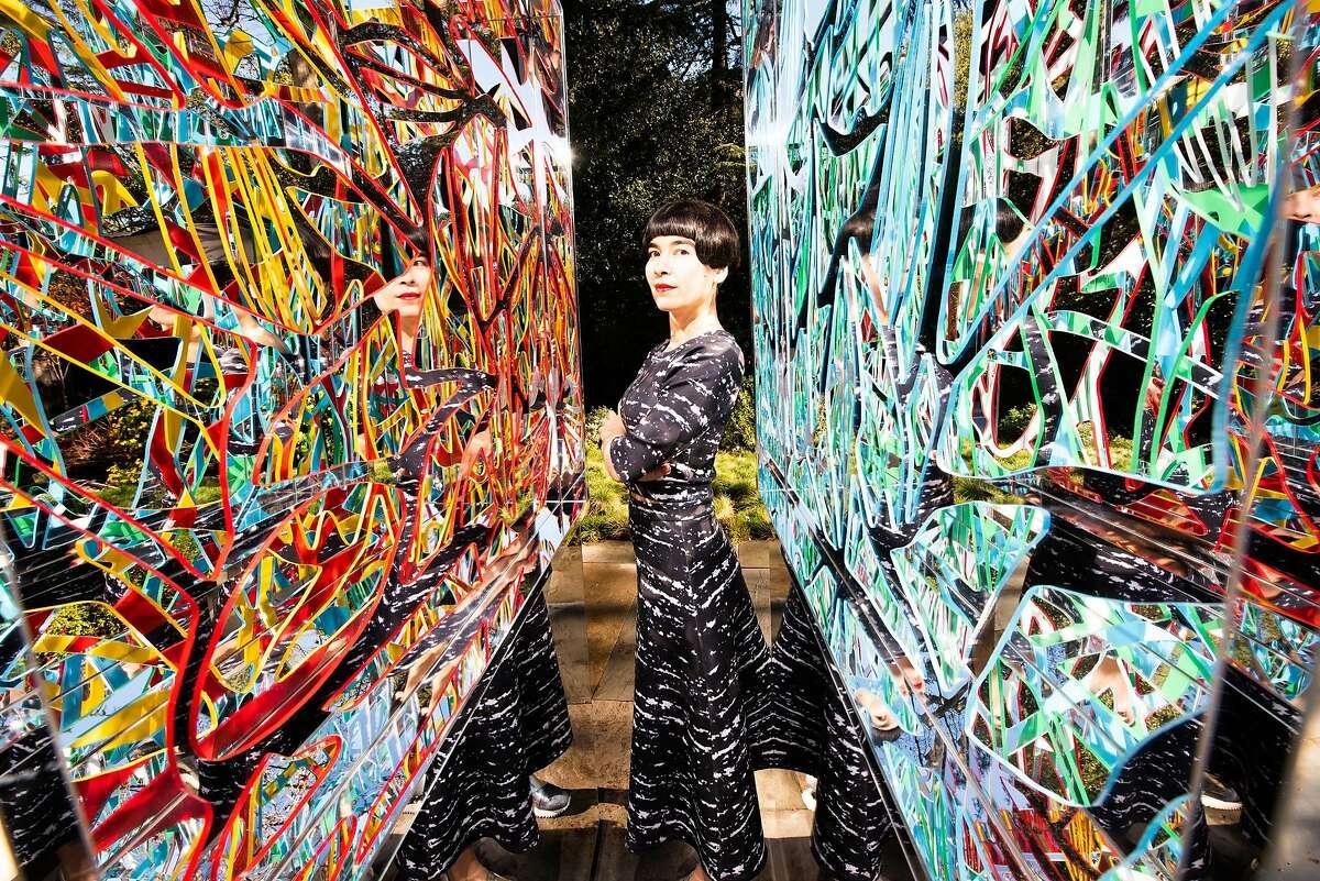 Founder of Drue Kataoka Studios, Artist & Technologist Drue Kataoka with one of her Ambrosia Artworks, inspired by neural networks.