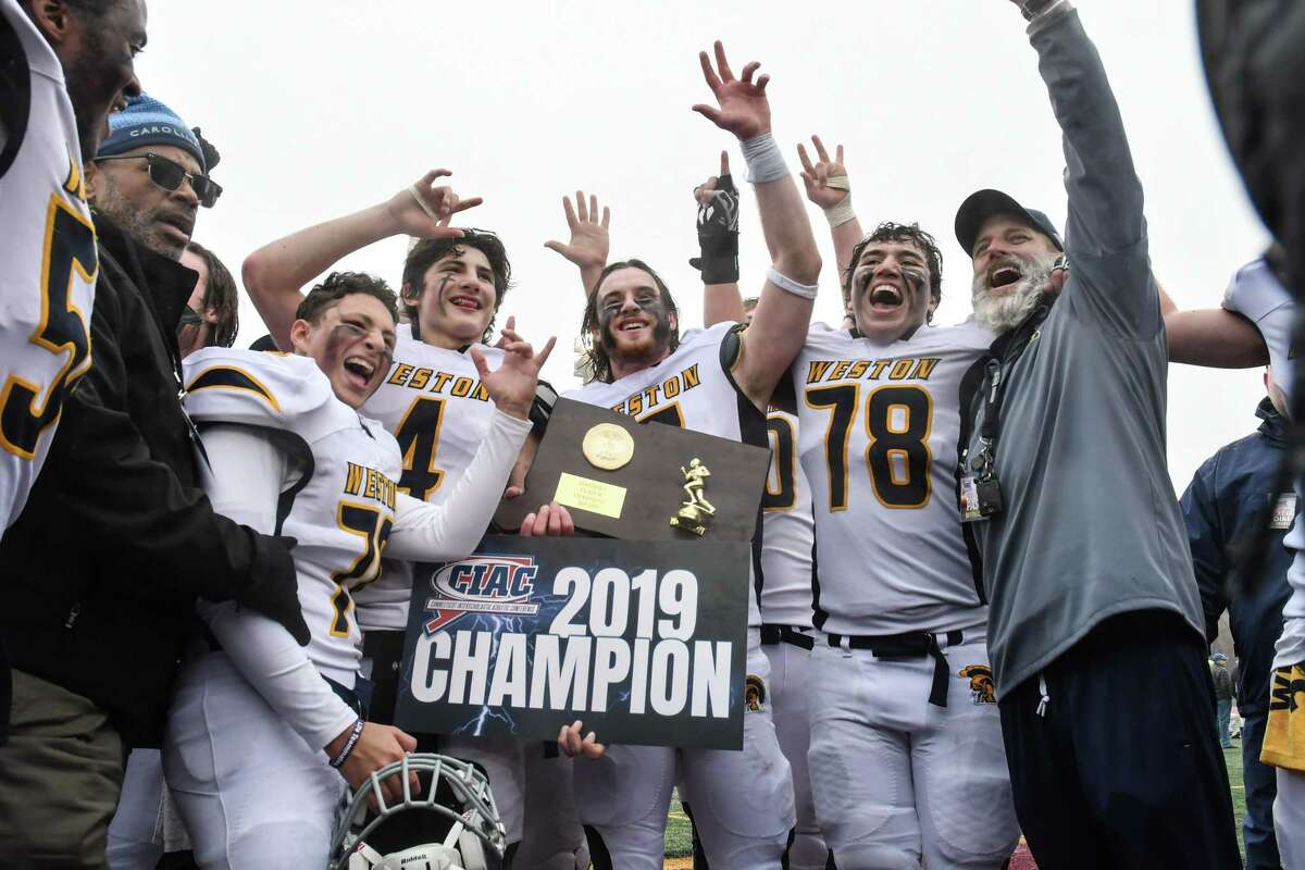 The Weston Trojans win the CIAC Class M Football Championship defeating Killingly on Satuday Dec 14 ,2019 at Veterans Stadium in New Britain, Connecticut.
