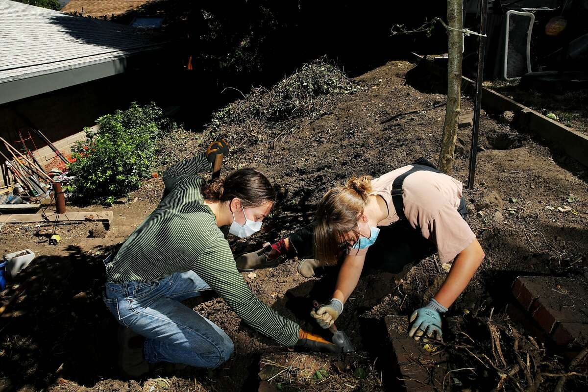 Sadie Fleig, 18, left, and her friend Niko Migdal, 18, both recent Berkeley High School graduates, perform yard work at Fleig's home on Tuesday, July 21, 2020, in Berkeley, Calif. Fleig plans to work the rest of 2020 and potentially travel early in 2021 before starting at Colorado College next fall. Her summer job is doing yard work at other people's houses in Berkeley.