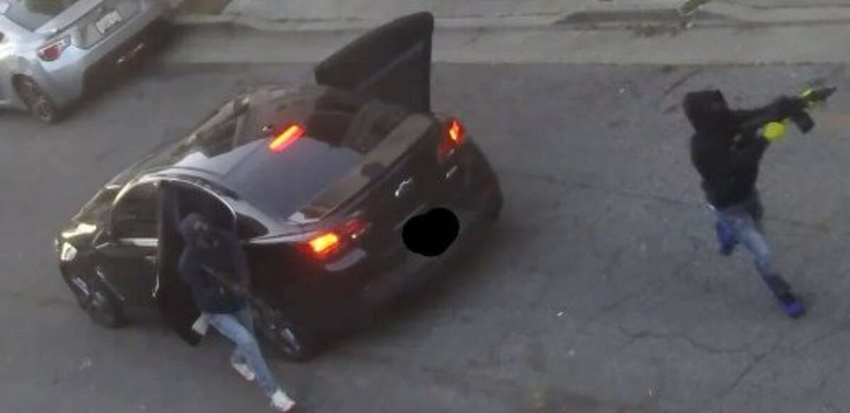 A still image from a video released by San Francisco police of a recent shooting in the city's Bayview.