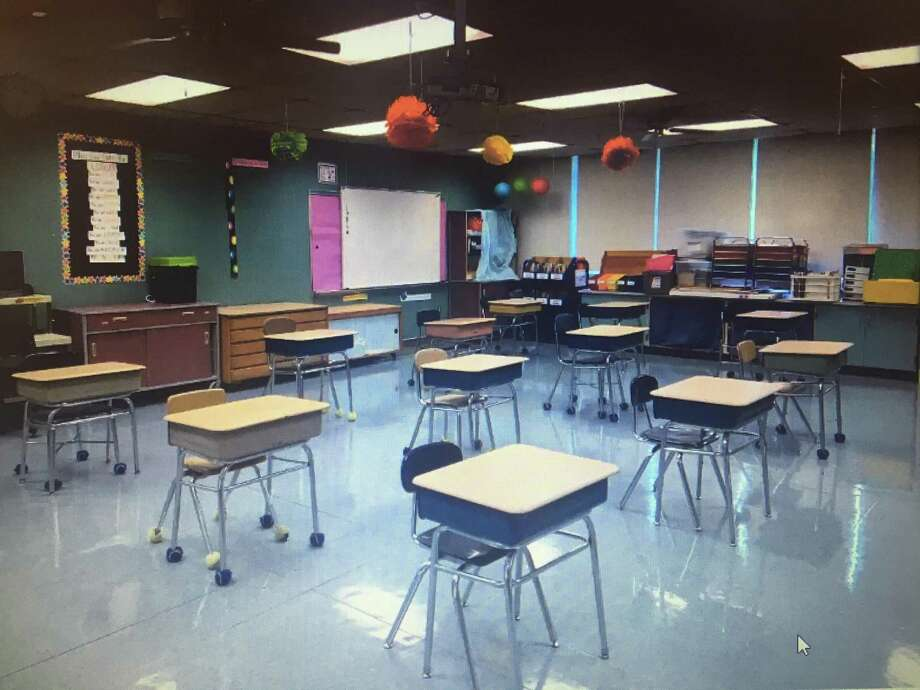 A New Milford classroom is set up for social distancing with 6 feet between each desk. Photo: Contributed Photo
