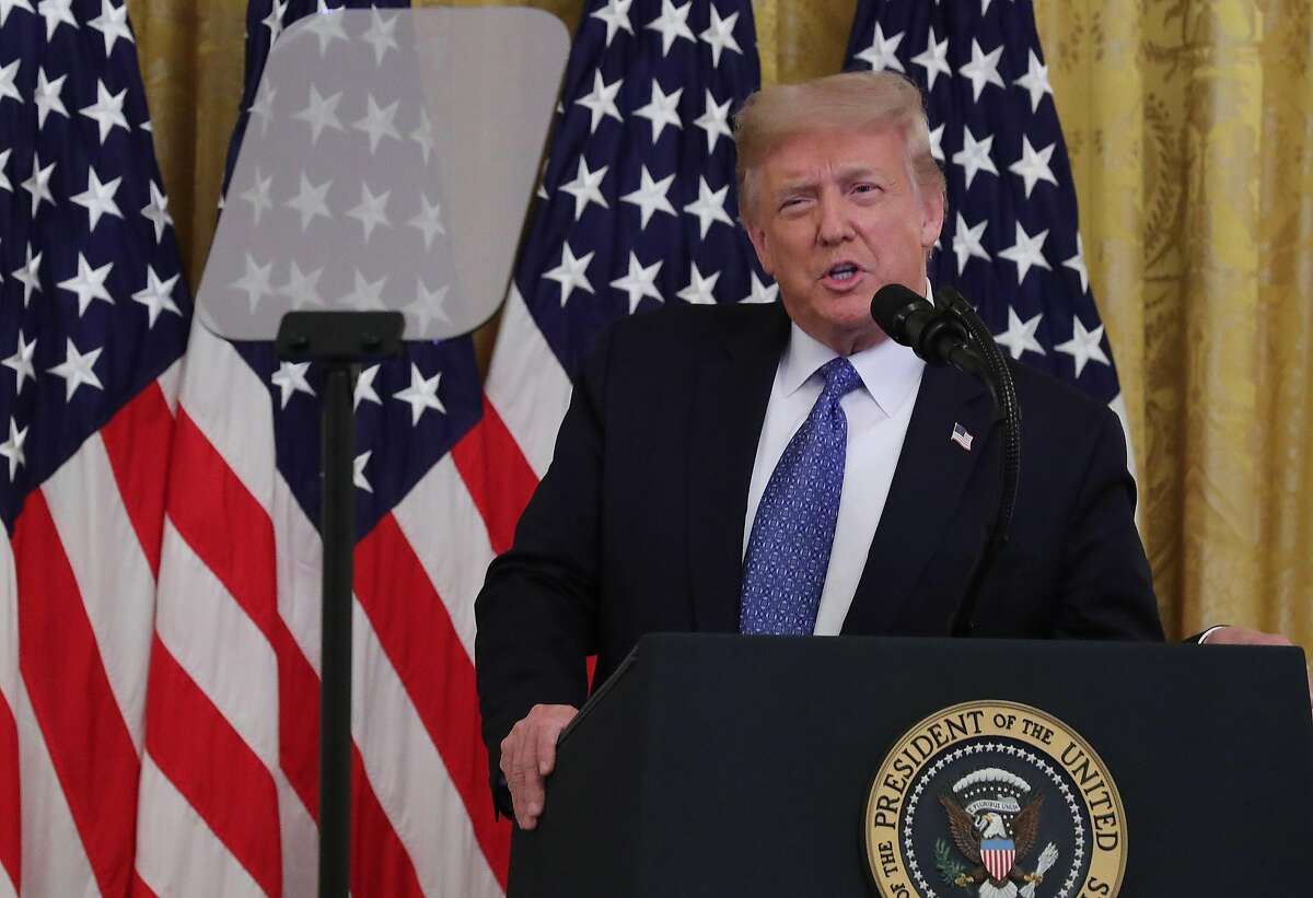 WASHINGTON, DC - JULY 22: U.S. President Donald Trump speaks during an event about 'Operation Legend: Combatting Violent Crime in American Cities' in the East Room of the White House July 22, 2020 in Washington, DC. In an attempt to define himself as a 'law and order' president, Trump announced that he is expanding the Justice Department's 'Operation Legend' program to Chicago and Albuquerque. Although local and state officials have declined the offer for help, U.S. Attorney General William Barr plans to send agents from the FBI, U.S. Marshal Service, Drug Enforcement Administration and the Bureau of Alcohol, Tobacco, Firearms and Explosives to help law enforcement in Illinois and New Mexico. (Photo by Chip Somodevilla/Getty Images)
