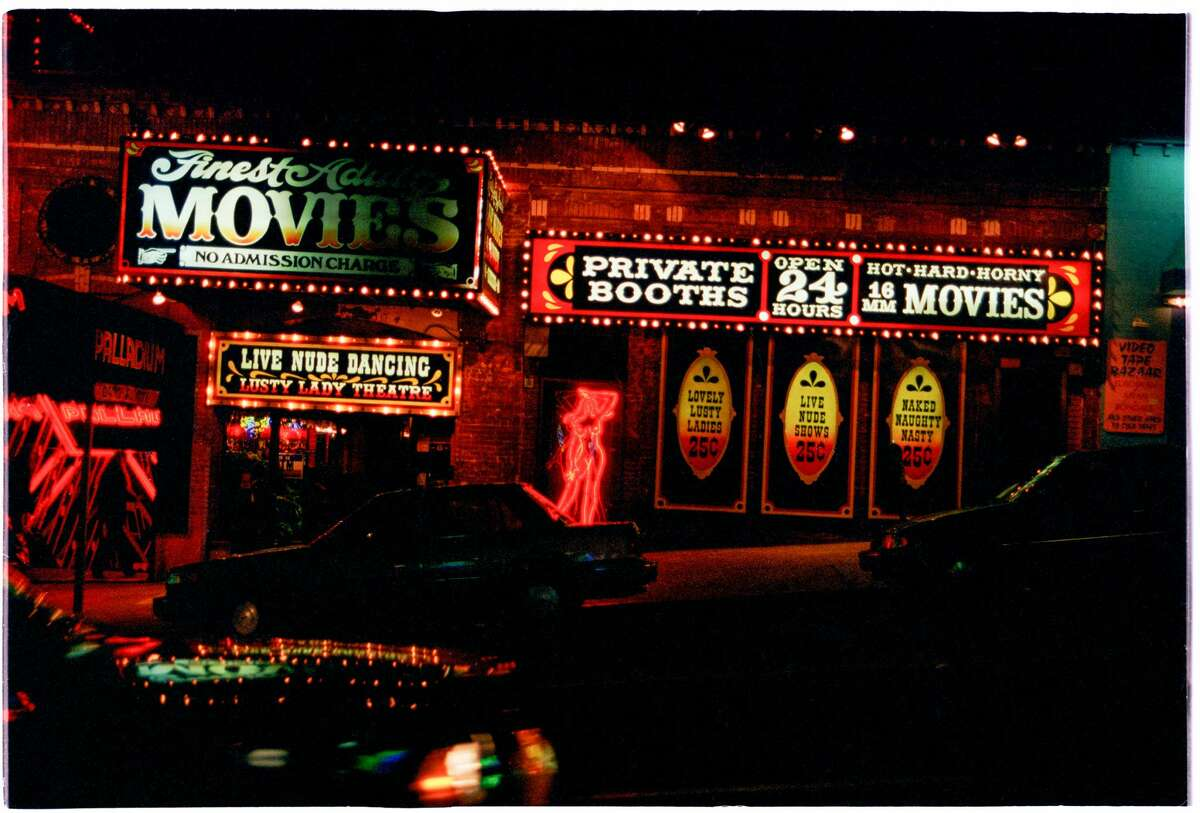 FILE - A photo of the Lusty Lady at night in 1993.