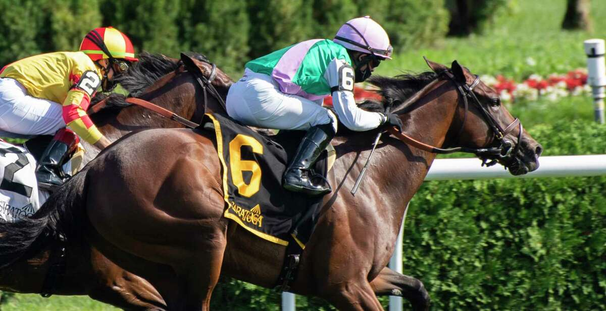 #6 Viadera with jockey Joel Rosario aboard passes #2 Noor Sahara with jockey Irad Ortiz Jr. to win the 17th running of The De La Rose at the Saratoga Race Course July 17, 2020 in Saratoga Springs, N.Y. Photo by Skip Dickstein/Special to the Times Union.