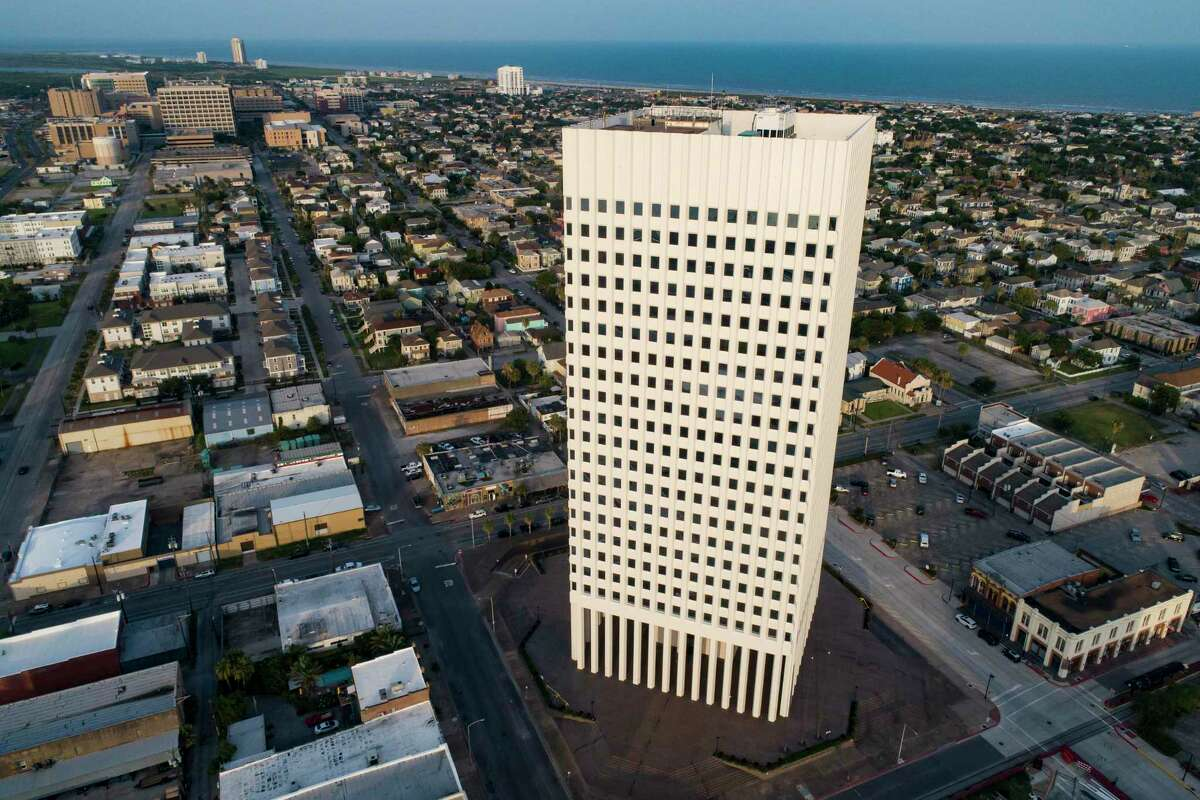 One Moody Plaza, the headquarters of American National Insurance Group Inc., Thursday, July 16, 2020, in Galveston.