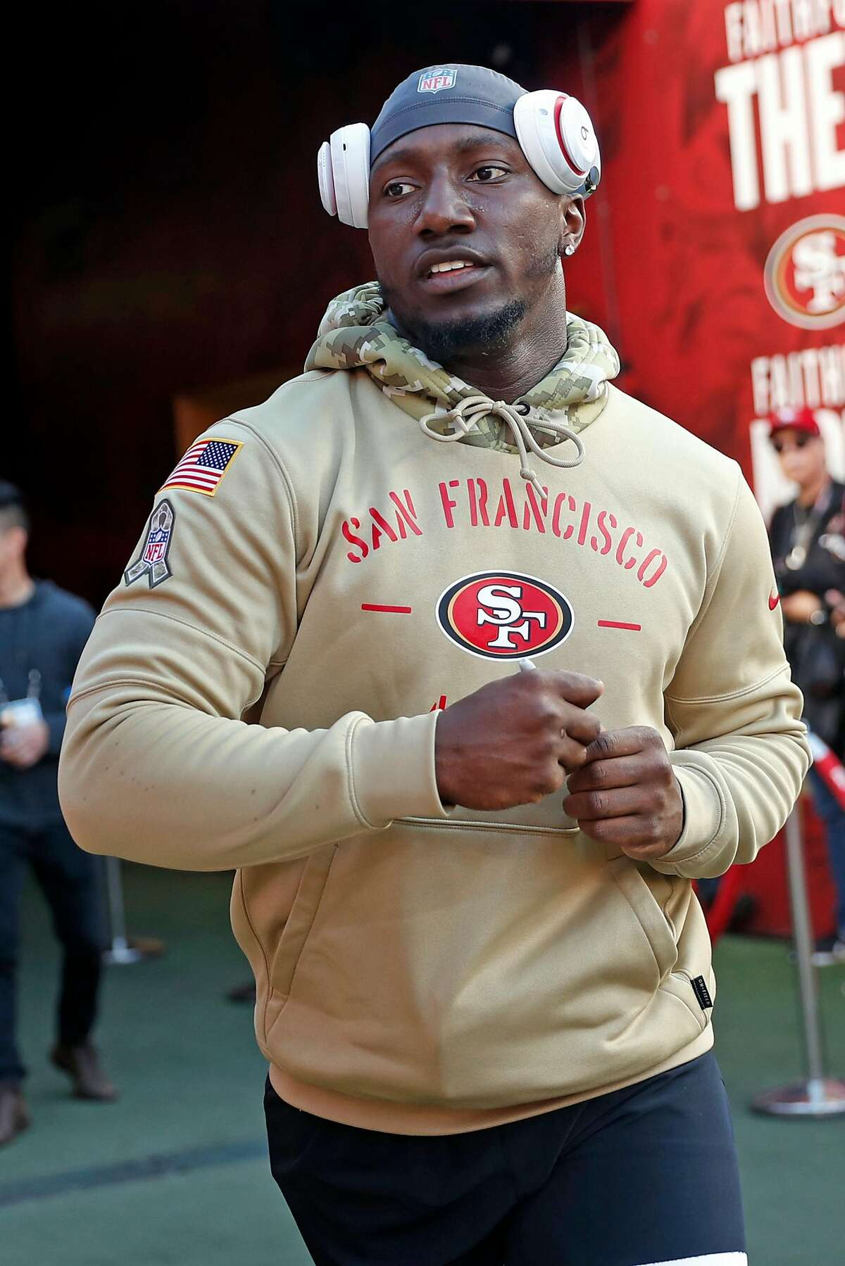 San Francisco 49ers' Deebo Samuel before playing against Green Bay Packers during NFL game at Levi's Stadium in Santa Clara, Calif., on Sunday, November 24, 2019.