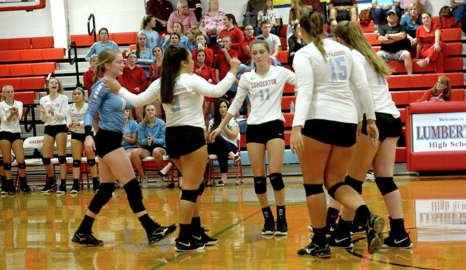 Lumberton's Lady Raiders react after a point against Silsbee during their match-up Tuesday at Lumberton. Photo taken Tuesday, September 10, 2019 Kim Brent/The Enterprise Photo: Kim Brent / The Enterprise / BEN