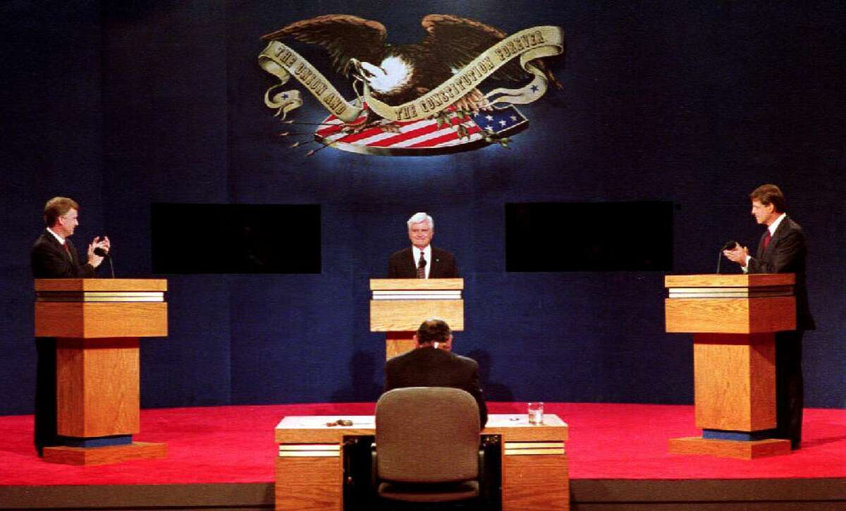 ATLANTA, GA - OCTOBER 13: Vice presidential candidates Dan Quayle (L), James Stockdale (C) and Al Gore (R) face off 13 October, 1992 at Georgia Tech in Atlanta, GA. The three candidates met for the only scheduled vice presidential debate of the 1992 election. (Photo credit should read BOB PEARSON/AFP via Getty Images)