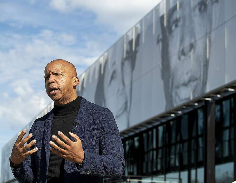 FILE - In this Jan. 17, 2020, file photo, Equal Justice Initiative founder Bryan Stevenson speaks to the media at the EJI Legacy Pavilion in Montgomery, Ala. Stevenson  was scheduled to meet with the NBA's coaches over a Zoom call for a half-hour a few weeks ago. The call went more than three times that long, and from there a running dialogue was born. ( Mickey Welsh/Montgomery Advertiser via AP, File) Photo: Mickey Welsh / Montgomery Advertiser