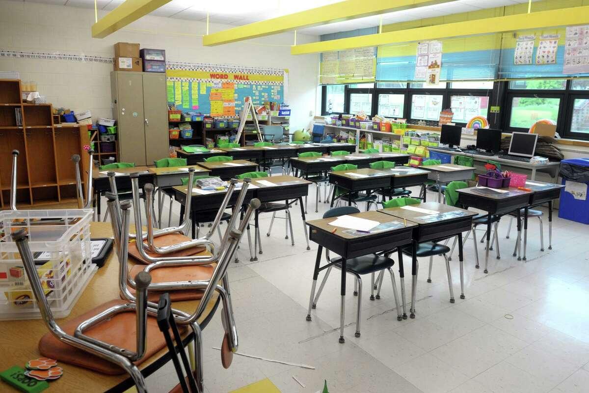 A Ridgefield classroom sits empty.