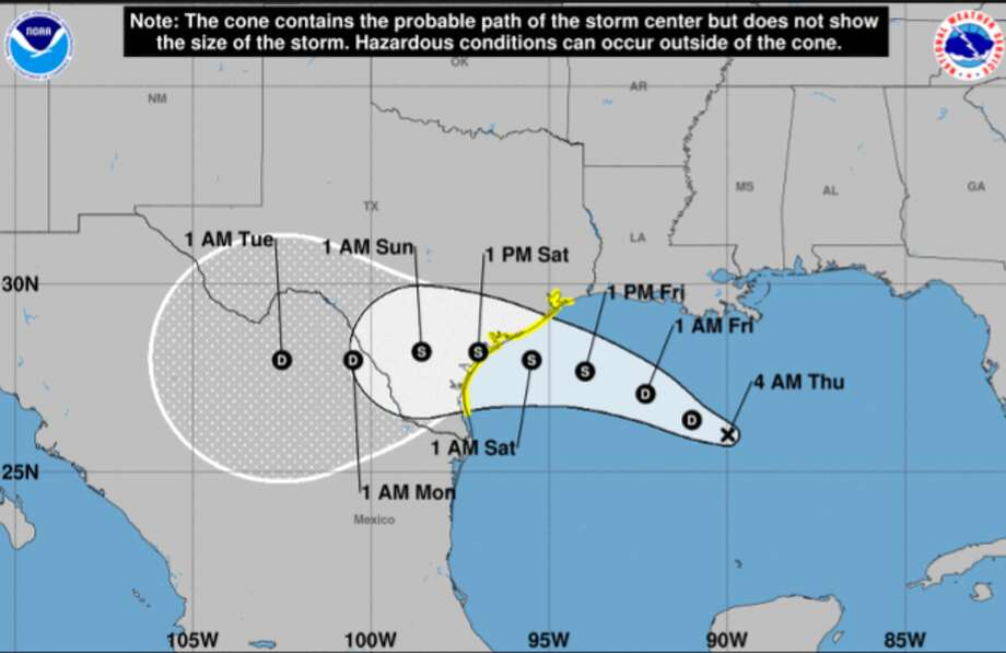 San Antonio will likely see rainfall this weekend from Tropical Depression Eight, which formed in the Gulf of Mexico Wednesday night, the National Weather Service said. Photo: National Weather Service