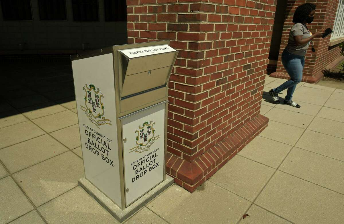 Ballot boxes, like this one in Norwalk, have been placed in front of local city halls for absentee voting. Shelton will have one in front of City Hall and another on the grounds of the Community Center.