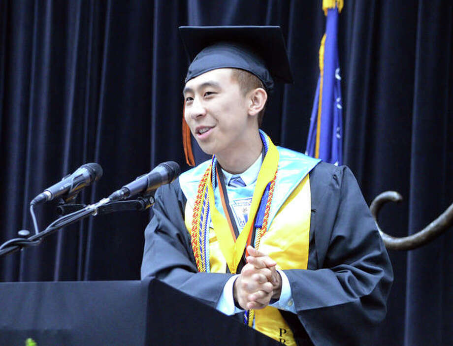 In this 2019 file photo, Joey Lu, who was also the senior class president, was one of the Class of 2019 valedictorians at Edwardsville High School. Under the proposed Laude system, the title would be eliminated and honors titles would be granted instead, though class rankings would still exist. Photo: Scott Marion | Intelligencer