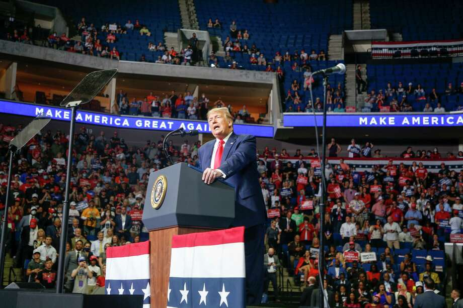 """In June at his Tulsa rally, Donald Trump explained what he saw as a downside to Americans being testing for COVID-19. He said, """"you're going to find more cases; so I said to my people, 'Slow the testing down, please.'"""" Photo: Ian Maule /Tulsa World / Tulsa World"""