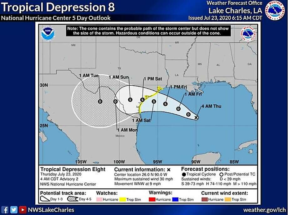 The Tropical Depression 8, which could become Tropical Storm Hanna by late Thursday or early Friday, is expected to produce heavy rains across portions of Louisiana and southern Texas which raises chances for flooding. Photo: Courtesy Of NWS Lake Charles