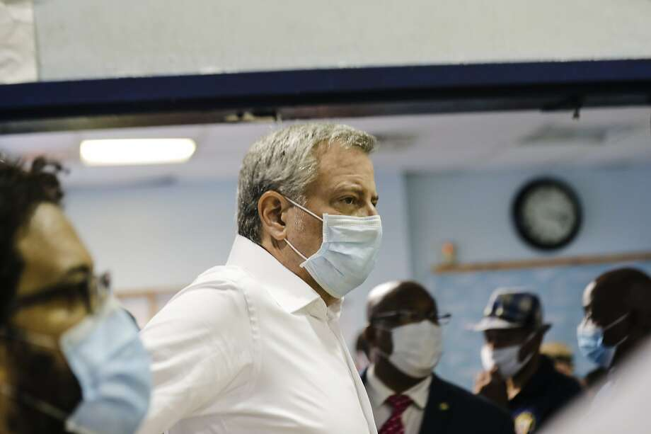 New York City Mayor Bill de Blasio wears a protective mask as he arrives for Harlem Youth Town Hall, Friday, July 17, 2020, in the Harlem neighborhood of New York. (AP Photo/Frank Franklin II) Photo: Frank Franklin II / Associated Press