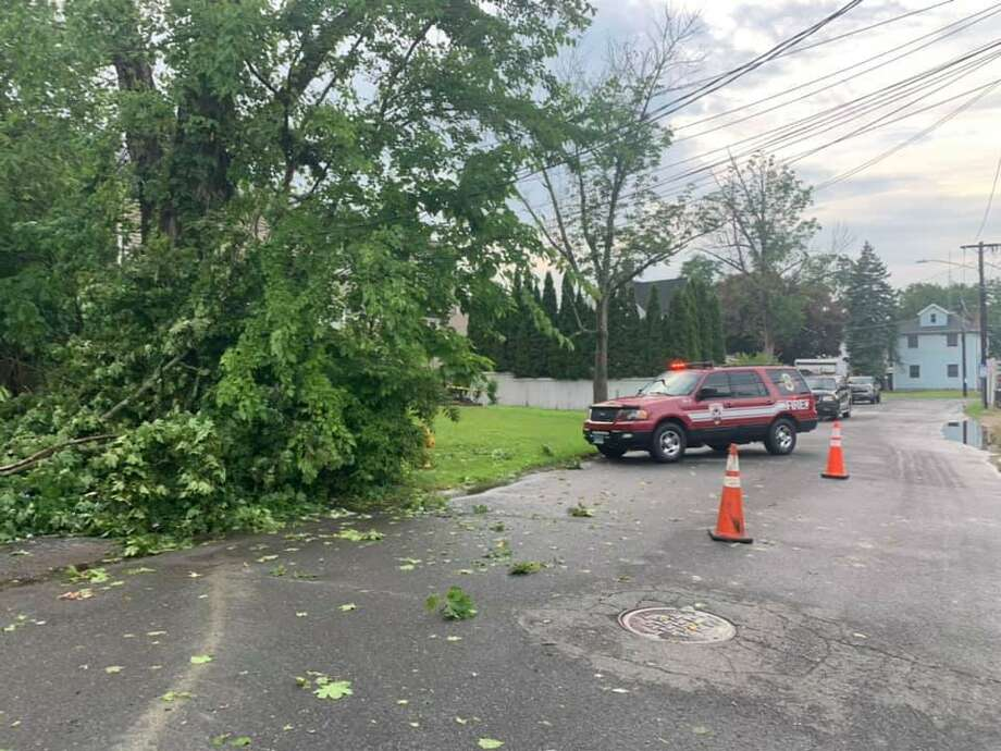 Firefighters at the scene of a downed tree in Danbury, Conn., July 22, 2020. Photo: Facebook / Phoenix Hose Company Inc. Engine 8 Danbury, CT