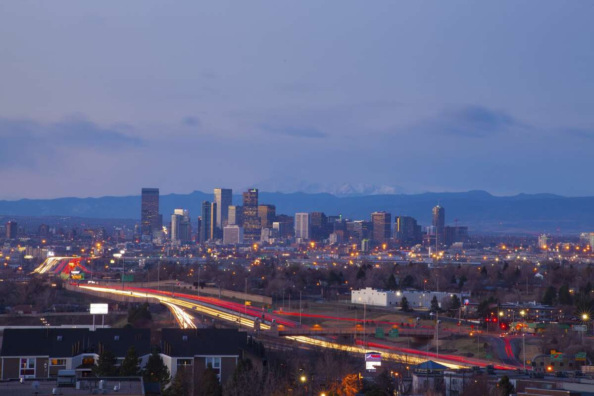 Beautiful view of Denver, Colorado downtown skyline at sunrise