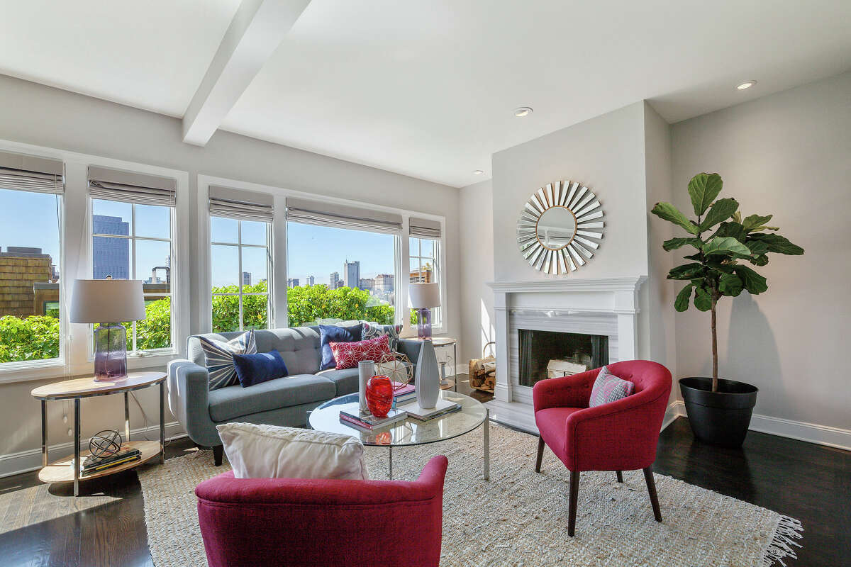 The home is 2,363 square feet, with Telegraph Hill views in the living room.