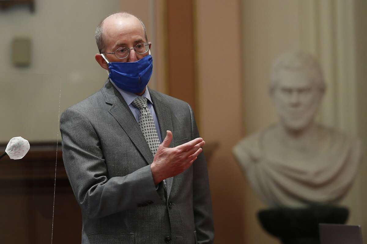 Sen. Steve Glazer, D-Orinda, speaks on one of the state budget trailer bills at the Capitol in Sacramento, Calif., Thursday, June 25, 2020. The Senate approved the $202.1 billion package of budget bills that covers the state's estimated $54.3 billion deficit brought on by the coronavirus. The Assembly is scheduled to vote on the budget Friday. (AP Photo/Rich Pedroncelli)