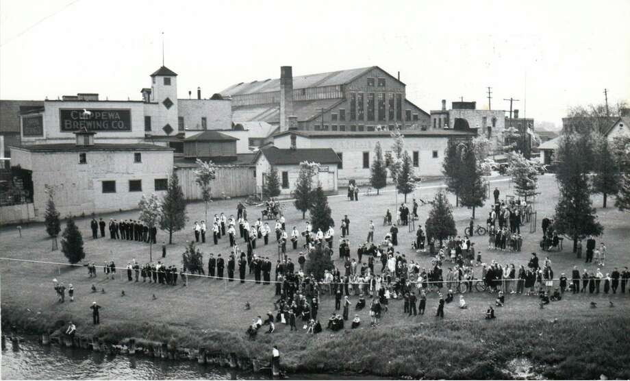 A crowd gathers in the original Douglas Park, located off of Mason Street, in the late 1930s. (Manistee County Historical Museum/Courtesy photo)
