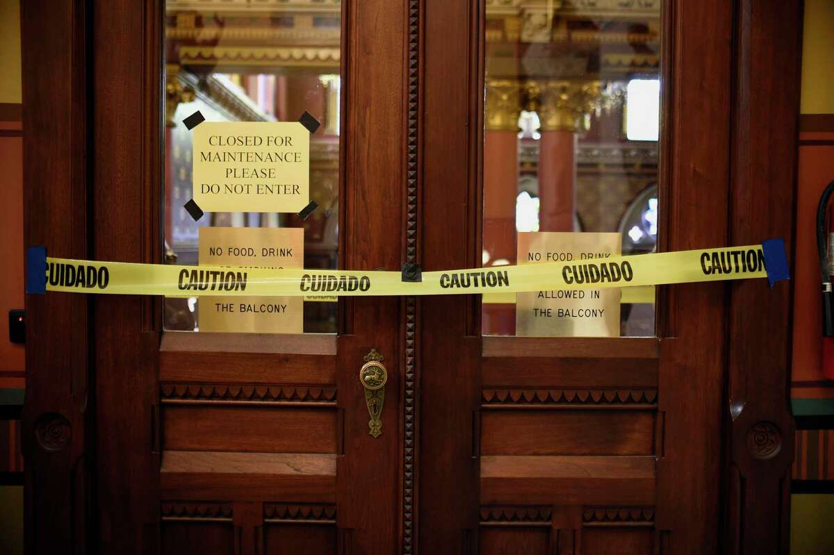 Doors to the gallery area above the House are closed during special session at the State Capitol this summer in Hartford.