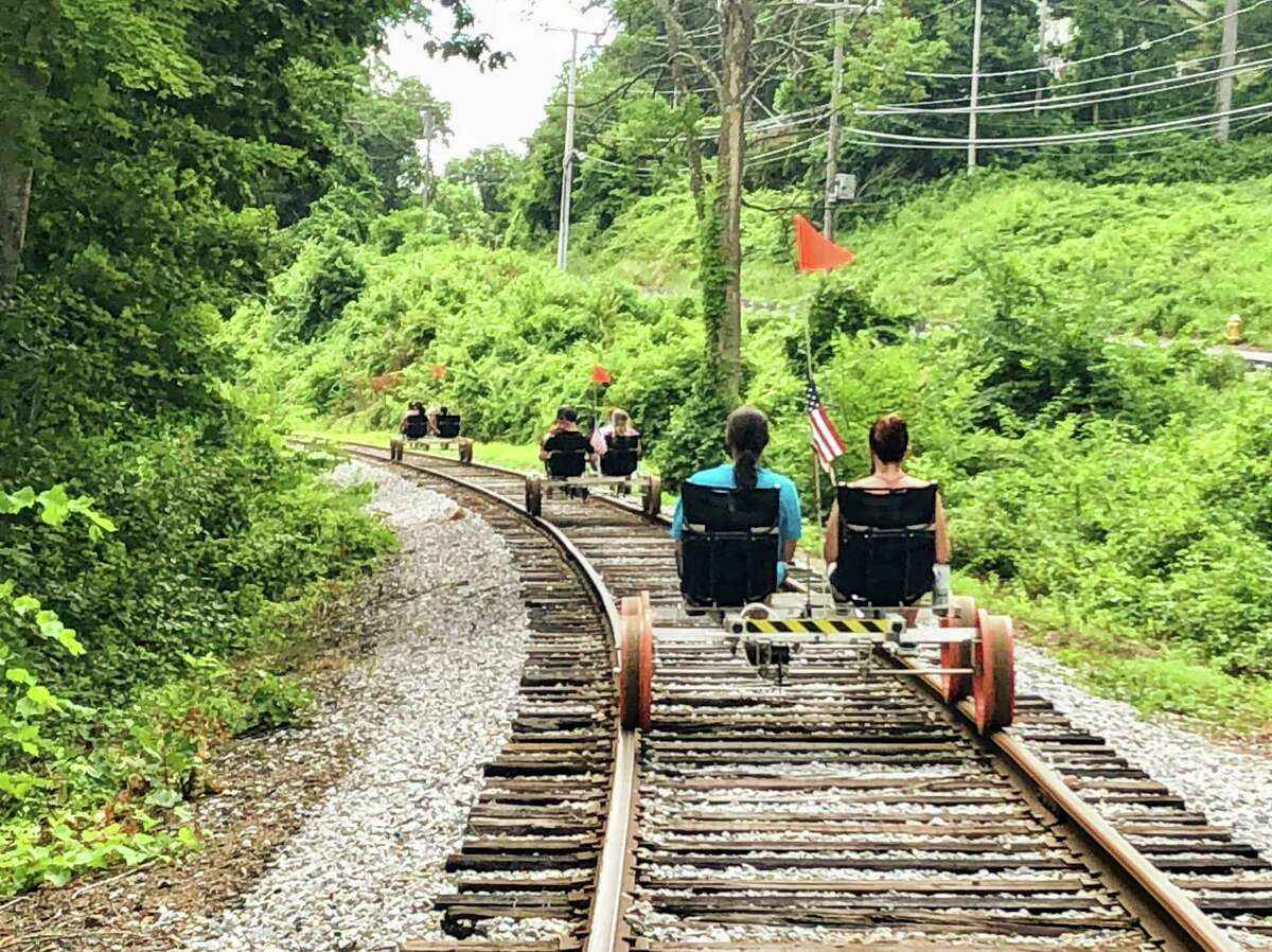 The Essex Steam Train's rail-bike ride is about 20 minutes from Lake Pocotopaug.