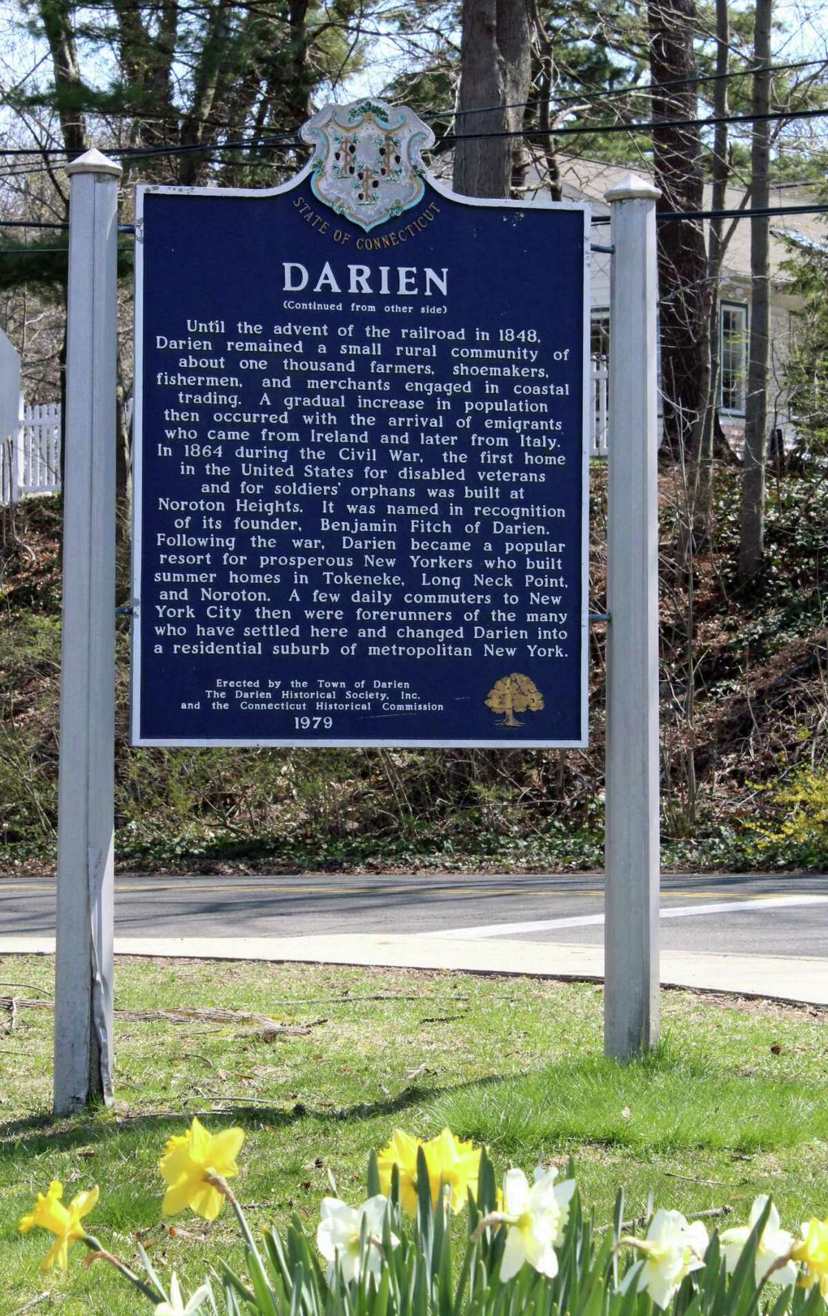 The sign outside Darien Town Hall.