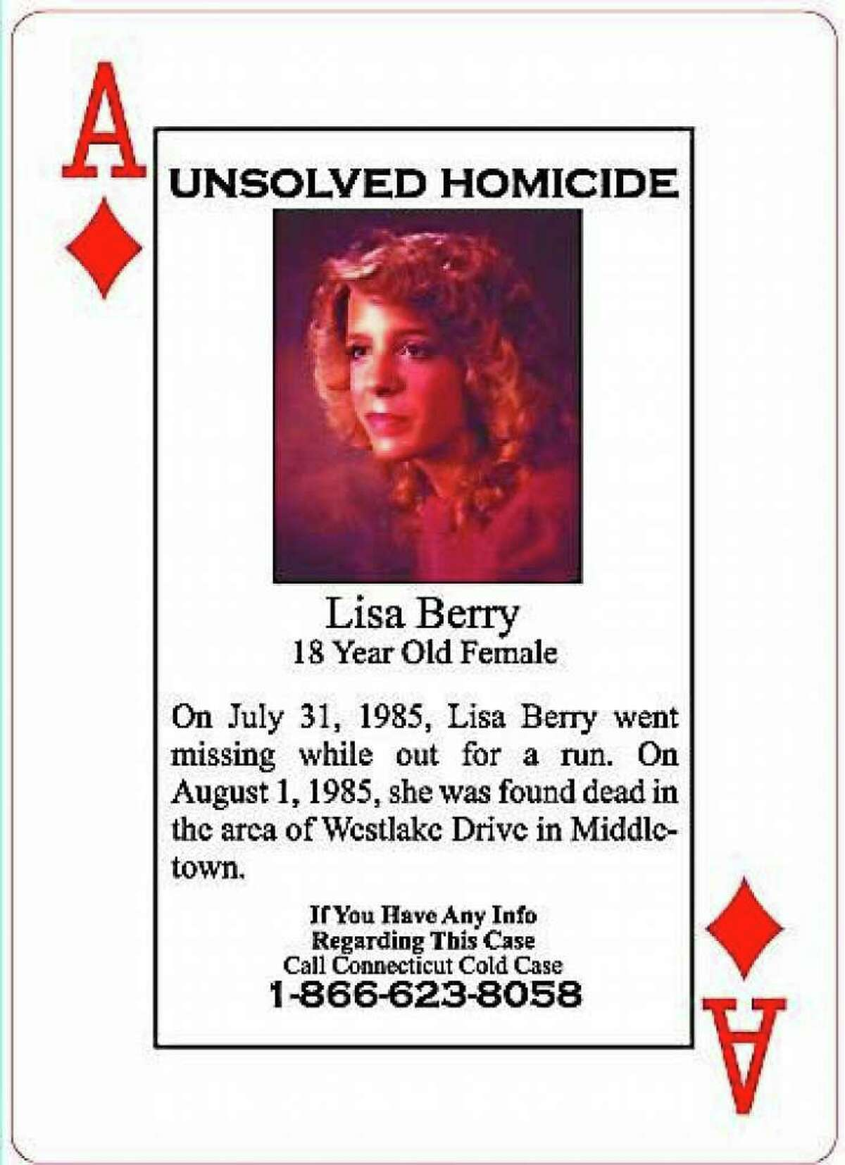 The murder of 1985 Middletown High School graduate Lisa Berry, who disappeared during a run in the Westlake area of the city, remains unsolved nearly 36 years later. Berry's yearbook photo is featured on one of the Connecticut Cold Case playing cards distributed among state inmates.