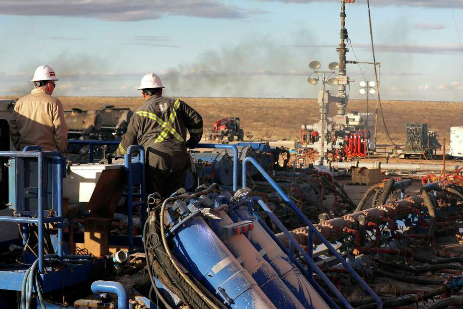 A BJ Services frack crew operates on a well site near Eunice, New Mexico, in January 2020. The oil-field service sector has lost more than 103,400 jobs nationally during the coronavirus pandemic, dragging service employment to the lowest level since the last oil bust in 2017. Photo: The Oilfield Photographer Inc. / The Oilfield Photographer, Inc. / © All Rights Reserved