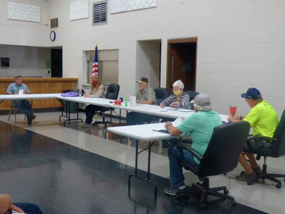 Members of the Stronach Township Planning Commission debate becoming a Second Amendment Sanctuary during a special meeting held on July 22. (Scott Fraley/News Advocate)