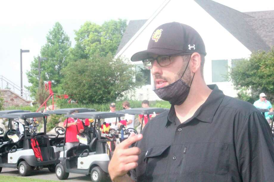 Ferris basketball coach Andy Bronkema speaks to the media on Wednesday morning at Katke Golf Course prior to the beginning of the 17th annual FSU Golf Outing. (Pioneer photo/John Raffel)