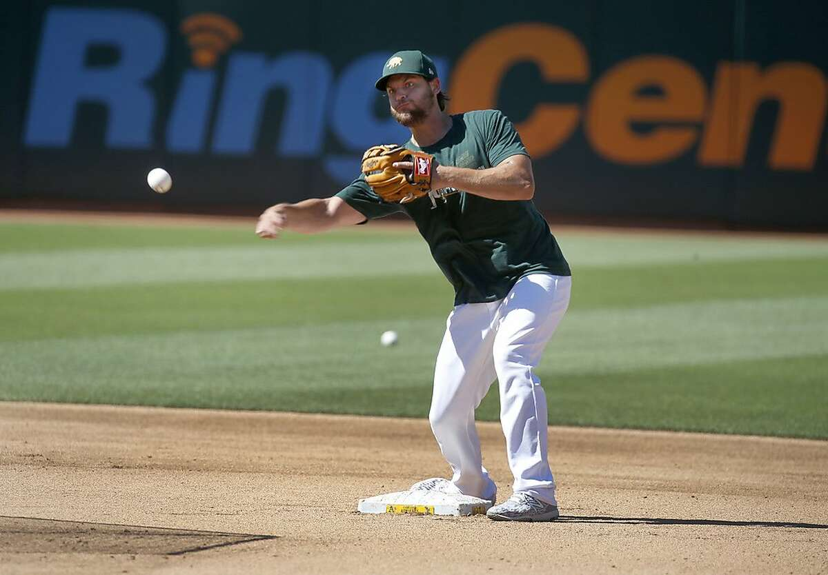 Chad Pinder takes infield practice during the Oakland A's summer training camp at the Coliseum in Oakland, Calif. on Saturday, July 11, 2020.