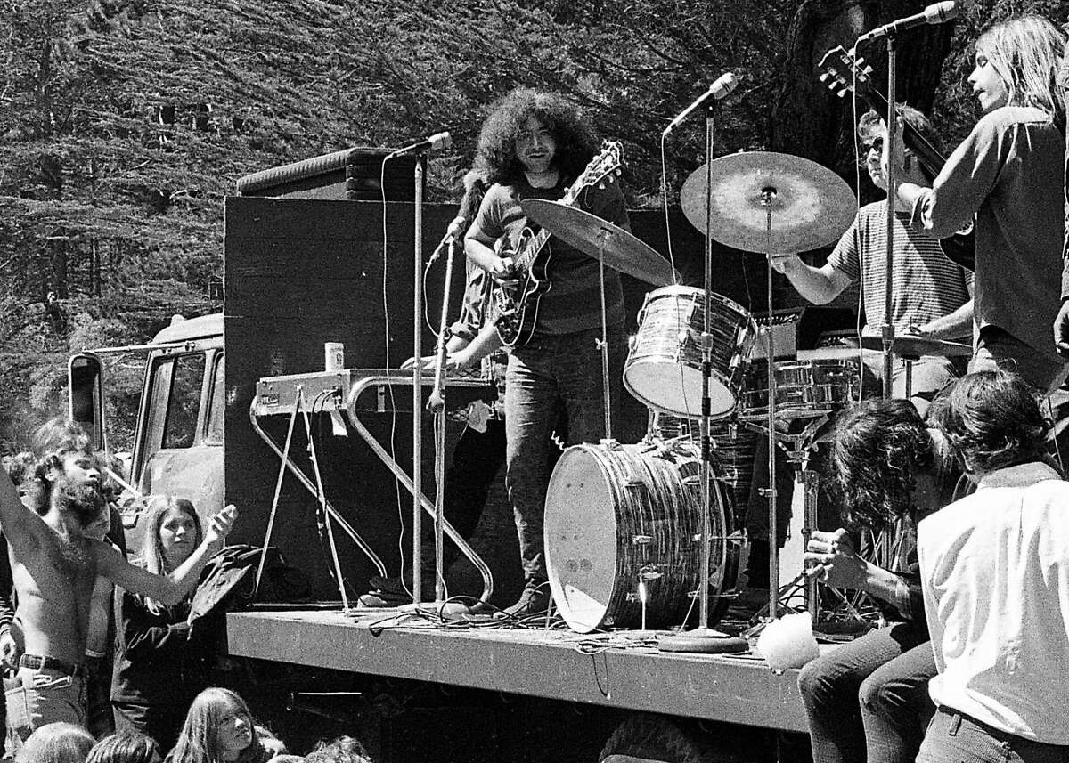 The Grateful Dead performed at the wake � in Golden Gate Park after the funeral procession for Hells Angel Chocolate George Hendricks Photo shot 08/281967 ...