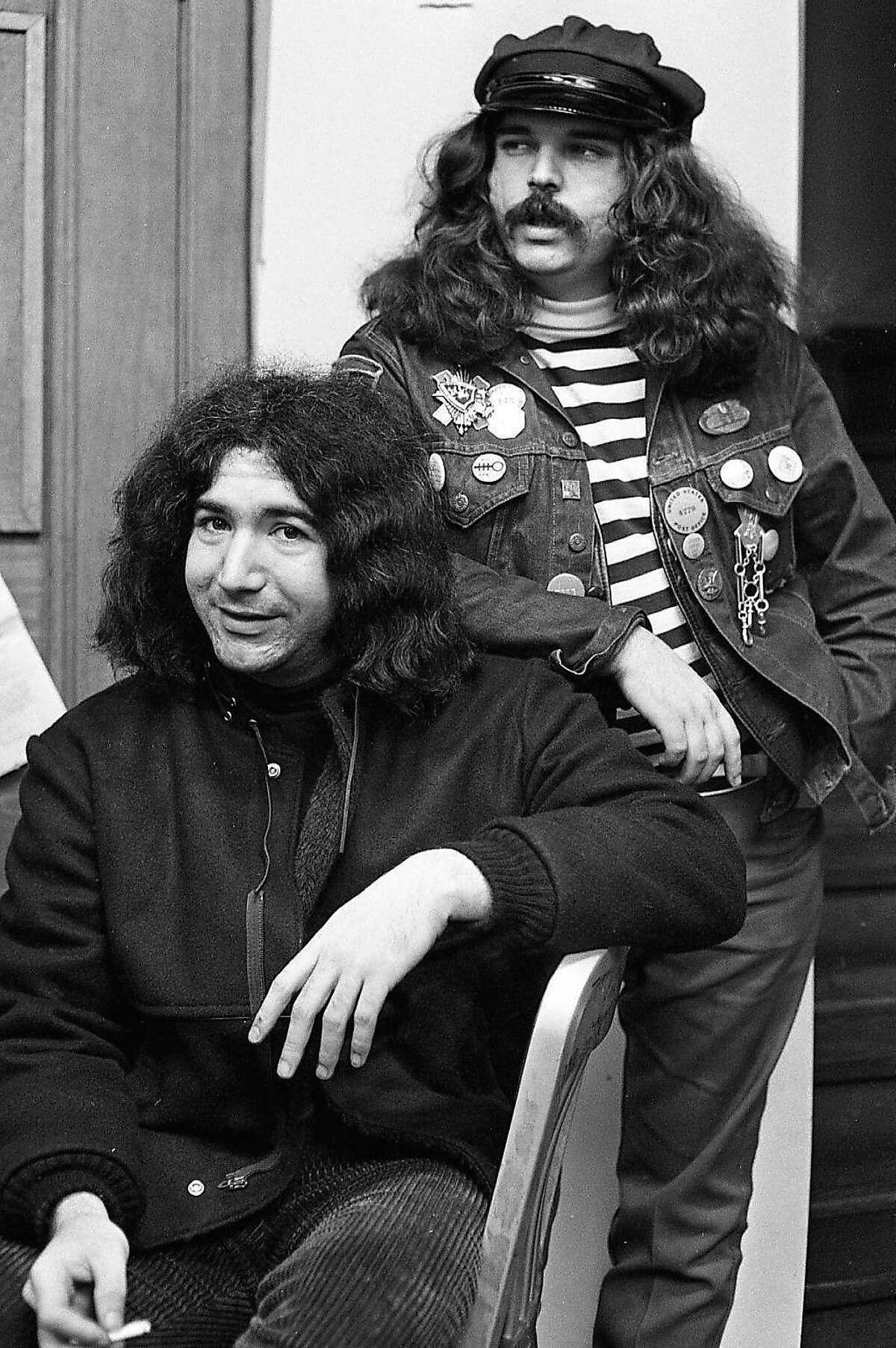 "Nov. 11, 1966: Jerry Garcia and Ronald ""Pig Pen"" McKernan -- members of the Grateful Dead hang out in San Francisco. deadend"