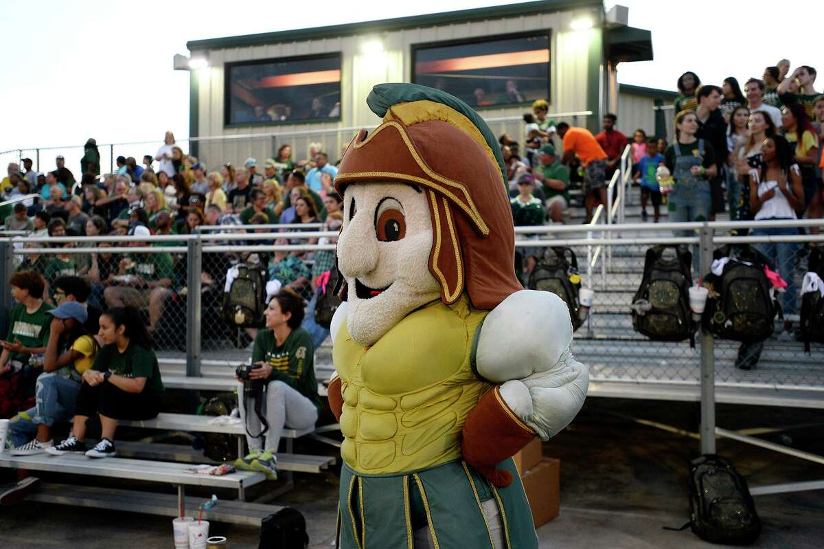Legacy Christian Academy's mascot watches as the Warriors take on Kelly Catholic. Photo taken Friday 9/7/18 Ryan Pelham/The Enterprise