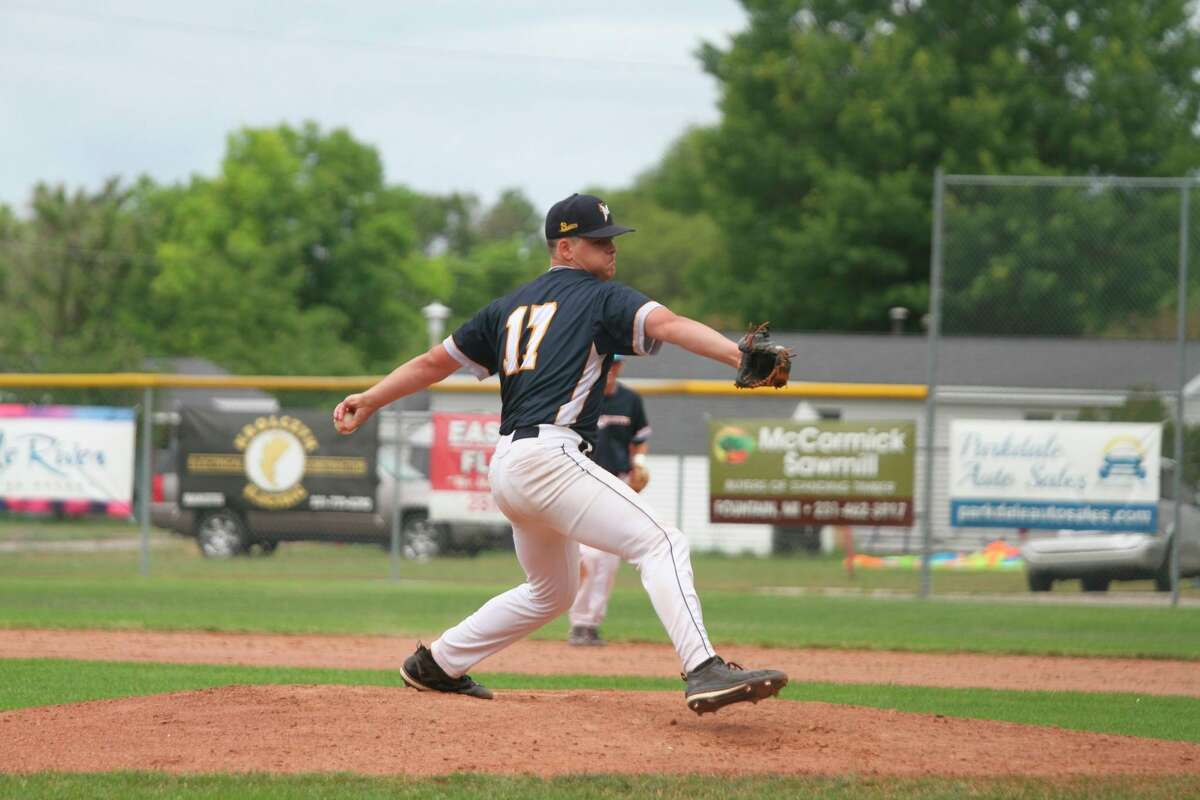 Saints pitcher Levi Irish fires a pitch during a Sunday game against the Oil City Stags earlier this season. (News Advocate file photo)