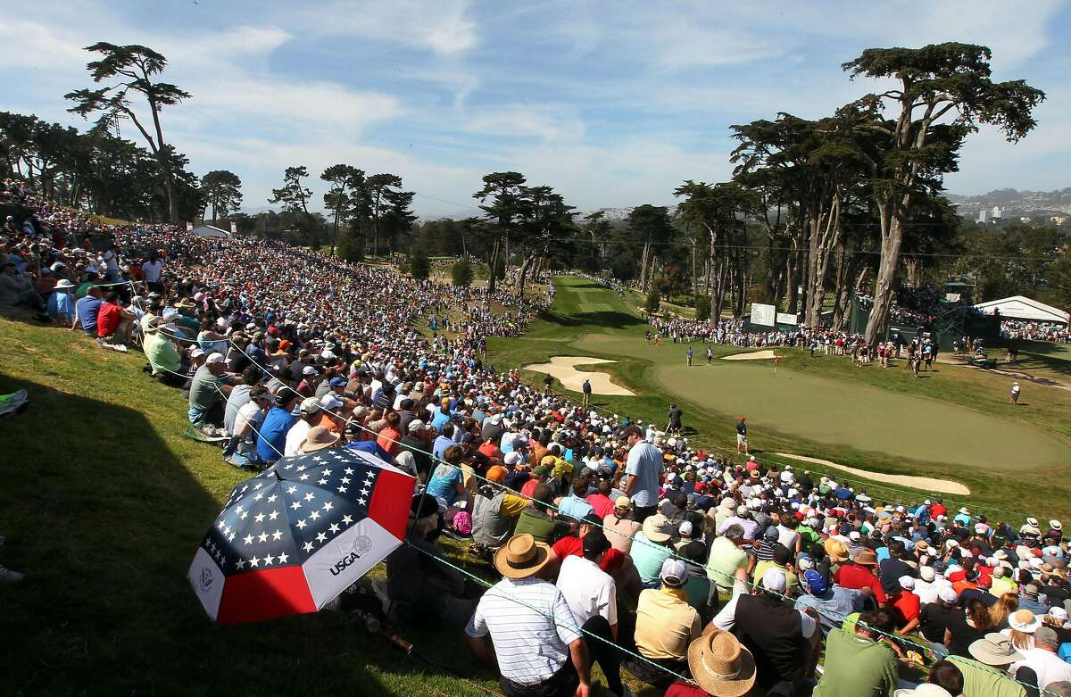 Thousands of golf fans surround the 8th hole during the third round of the 2012 U.S. Open at The Olympic Club. USGA officials announced Monday they will host a limited number of spectators at this year's U.S. Women's Open at Olympic.