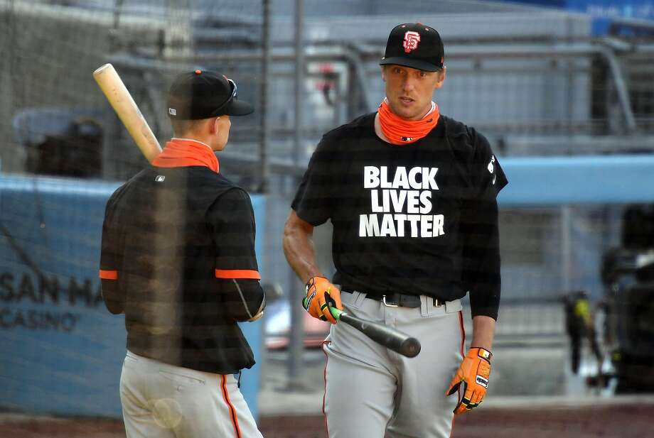 Hunter Pence #8 of the San Francisco Giants looks on during batting practice before the game against the Los Angeles Dodgers at Dodger Stadium on July 23, 2020 in Los Angeles, California. Photo: Harry How / Getty Images