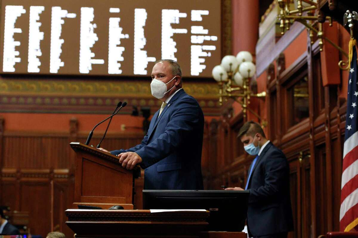 Connecticut Speaker of the House Joe Aresimowicz, D-Berlin, speaks during a special session at the State Capitol on Thursday in Hartford.