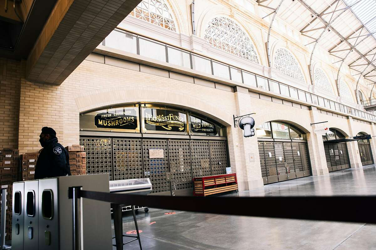 Interior shops are seen inside the shuttered Ferry Building due to the ongoing COVID-19 pandemic in San Francisco, Calif. on Thursday, July 23, 2020.