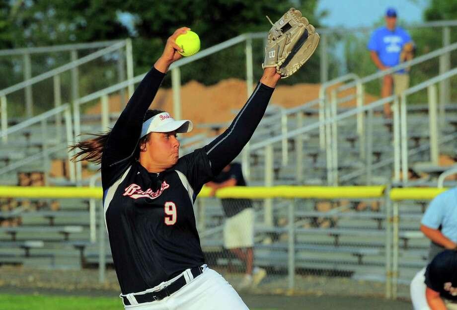 Brakettes pitcher Sarah Lawton is 9-1 this season. Photo: Christian Abraham / Hearst Connecticut Media / Connecticut Post