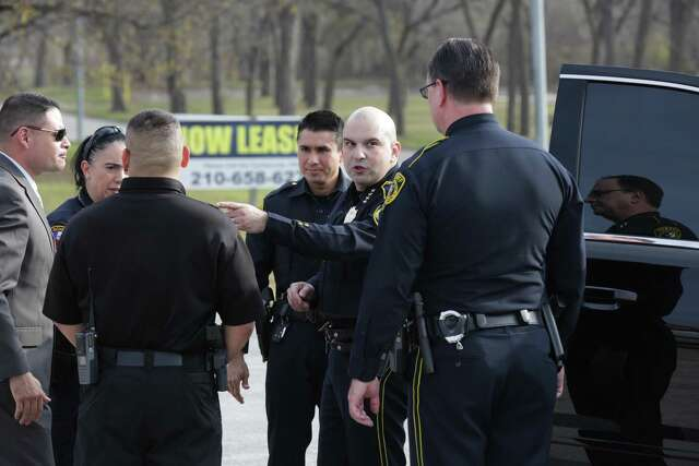 Bexar County Sheriff Javier Salazar gives direction to deputies near the place where four deputies would later shoot 6-year-old Kameron Prescott, killing him on Dec. 21, 2017. They had been chasing a woman wanted for nonviolent criminal charges. They suspected she was armed and killed her.