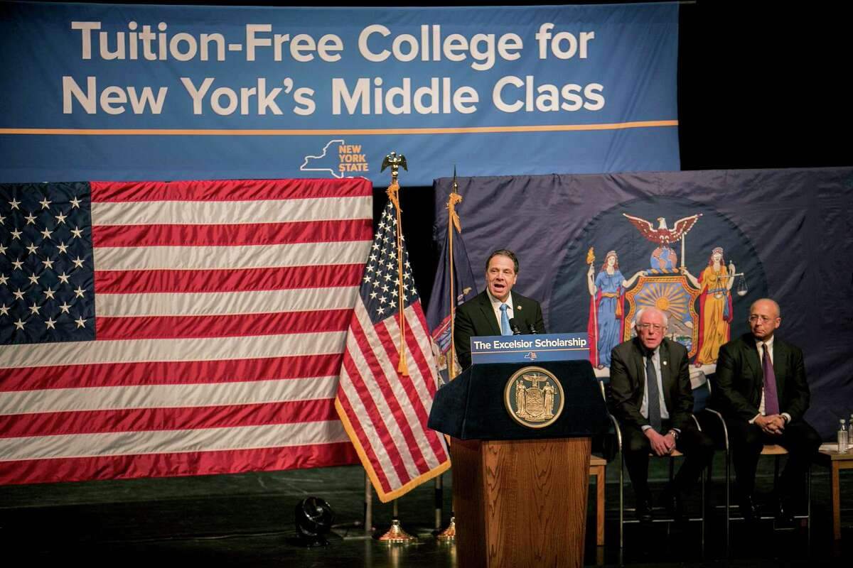 FILE -- New York Gov. Andrew Cuomo speaks at LaGuardia Community College, joined by Sen. Bernie Sanders (I-Vt.) and William C. Thompson Jr., chairman of the City University of New York, where he unveiled a plan to provide free college tuition, in New York, Jan. 3, 2017. Of the Democrats who have prompted speculation about a 2020 presidential run, Cuomo seems the keenest to quickly broaden his appeal since the election, and is perhaps the most road-tested in political warfare and theatrics. (Sam Hodgson/The New York Times) ORG XMIT: XNYT55