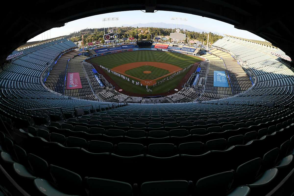 LOS ANGELES, CALIFORNIA - JULY 23: A general view before the game between the San Francisco Giants and the Los Angeles Dodgers at Dodger Stadium on July 23, 2020 in Los Angeles, California. (Photo by Harry How/Getty Images)