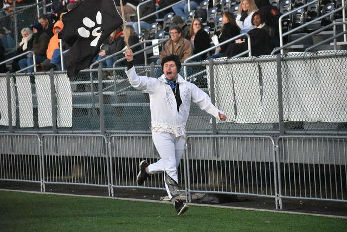 EHS student Jacob Kitchen, then a senior, runs down the sideline after a touchdown in last season's playoff opener inside the District 7 Sports Complex.
