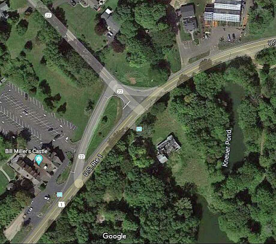 The state Department of Transportation says work will begin Monday, Aug. 3, 2020 on construction of a modern roundabout at Route 1 and Route 22 in Guilford, Branford and North Branford. The location of the new roundabout will be a short distance from Bill Miller's Castle in Branford. Photo: Google Image