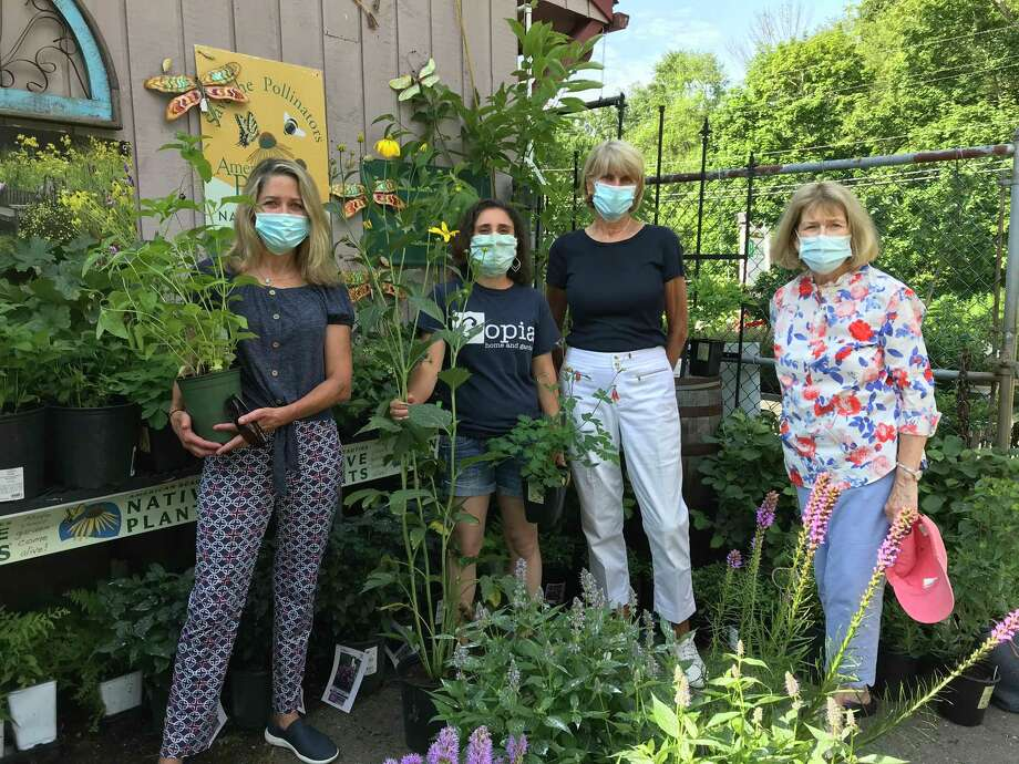 Planet New Canaan's Margot Bright; Jenn Cipriano of Copia Home and Garden; and co-presidents of New Canaan Beautification League, Karen Hanson and Carol Seldin. Photo: Contributed Photo