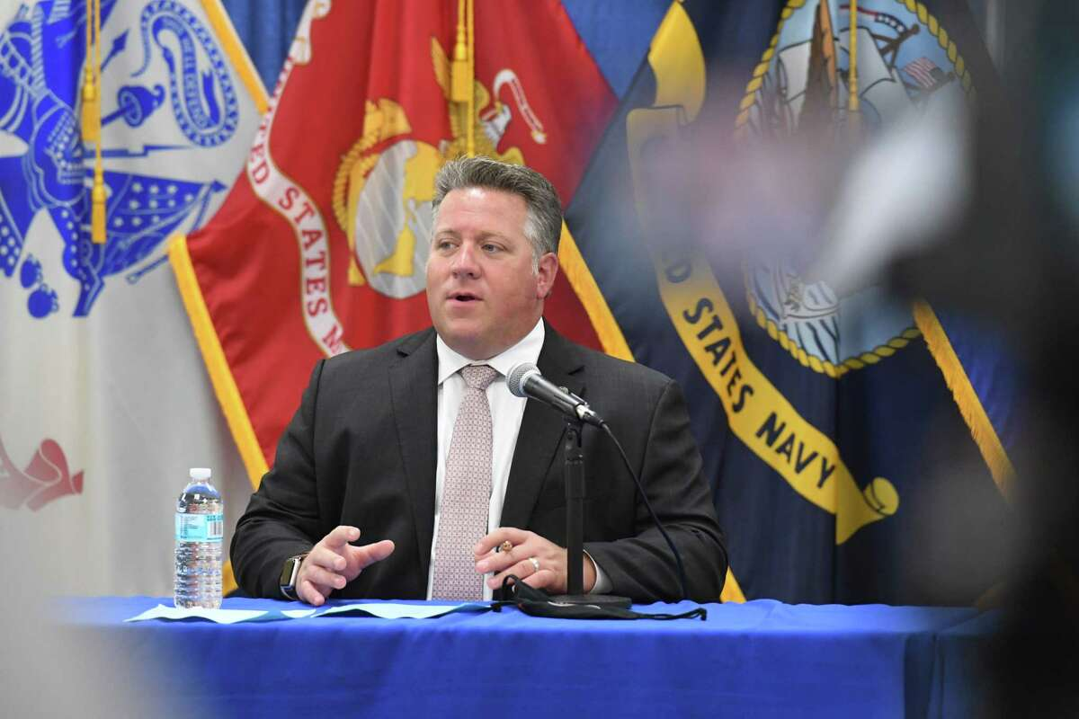 Albany County Executive Dan McCoy holds his daily coronavirus briefing on Friday, July 24, 2020, at the county offices in Albany, N.Y. (Will Waldron/Times Union)