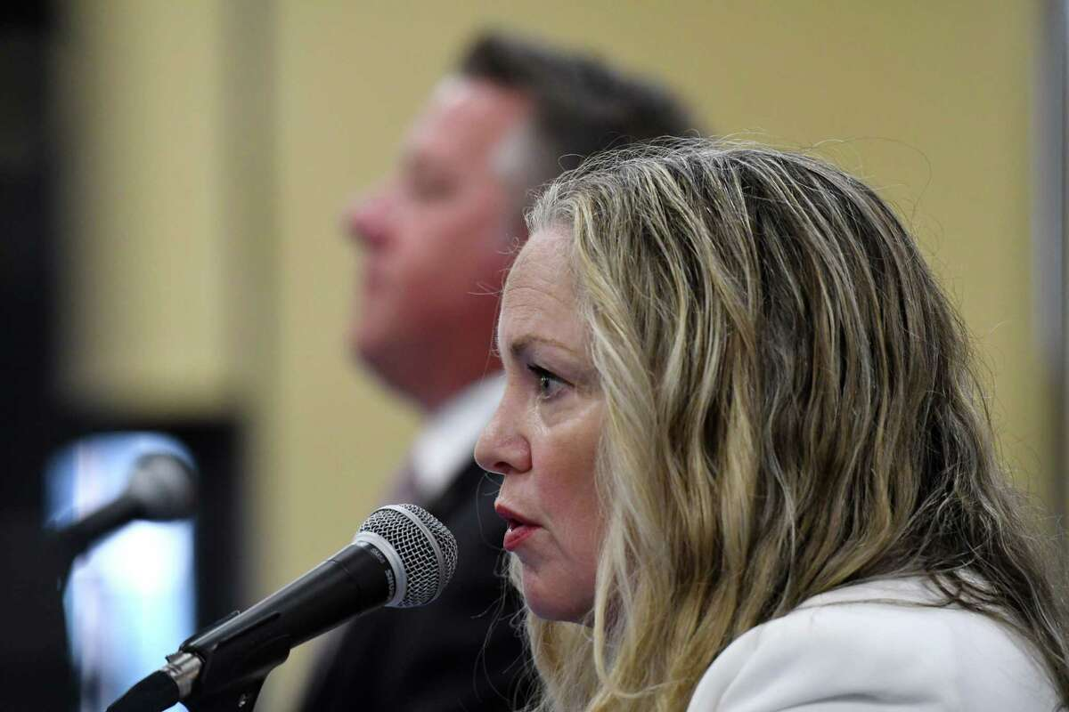 Albany County Health Commissioner Dr. Elizabeth Whalen joins Executive Dan McCoy for the daily coronavirus briefing on Friday, July 24, 2020, at the county offices in Albany, N.Y. (Will Waldron/Times Union)
